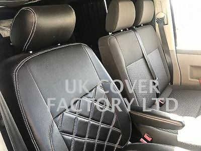Vw Crafter Van Seat Covers Black Bentley Stitch Pvc Leather X150As