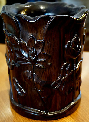A Beautiful Ebony Heavily Carved  Brush Pot