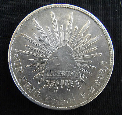 Circulated 1901 Zs-FZ Mexico Un Peso Silver Coin....