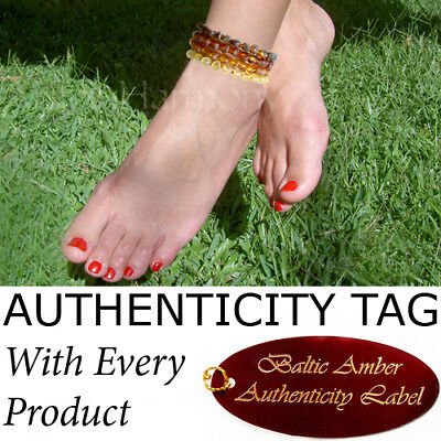 Authentic RAW BALTIC AMBER ADULT ANKLET natural health