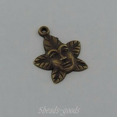 39485 Vintage Bronze Alloy Flower Men Face Pendant Jewelry 23*20*2mm 30pcs