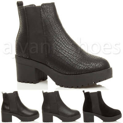 c1c29f74b2f Womens Ladies Block Low Heel Chunky Platform Chelsea Ankle Biker Boots Size
