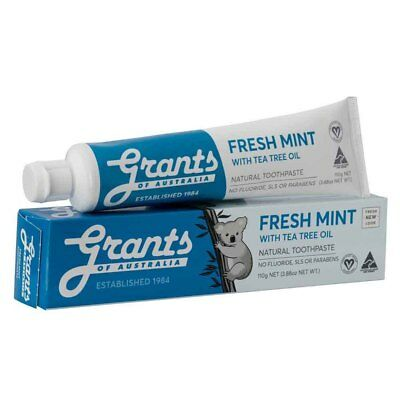 Grants Extra Fresh Blue Natural Toothpaste - SLS & Fluoride Free (110g) NEW