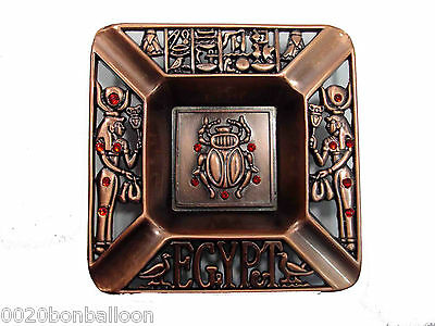 Egyptian Antique Ashtray Plate Decorative Scarab Metal Ancient Hieroglyphic 236