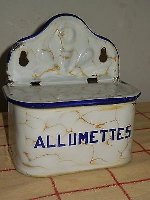 RARE VINTAGE French Enamelware MATCH BOX - Chickenwire pattern