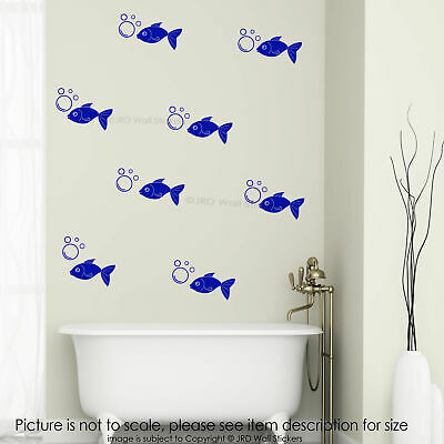 Fish & Bubble Wall Stickers Kid's Room Bedroom Kitchen Vinyl Tile Decal 35 piece