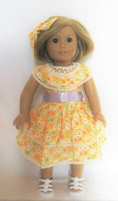 "Doll Clothes 18"" Doll Dress Summer Yellow Floral Fits American Girl Doll Kit"