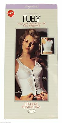 NEW VTG 80s Exquisite Form FUL-LY Longline CORSET BRA Front Hook 38B White NOS