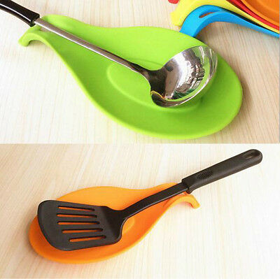 Silicone Cooking Spoon Insulation Mat Drink Spatula Holder Tray Placemat