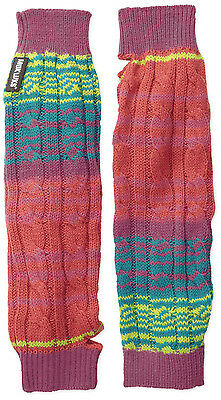 Muk Luks Women's Candy Coated Rainbow Multi Striped Armwarmers With Thumb hole