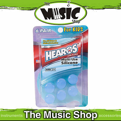 6 Pairs of Hearos Multi Use Silicone Re-Usable Ear Plugs for Kids -Water & Noise