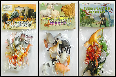 Plastic Jungle Zoo Figures Wild Farm Animals Dinosaurs Childrens Toys Party Bags