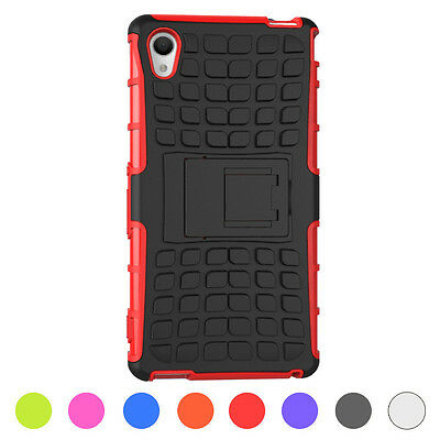 8Colors Hybrid Armor Rugged Stand Hard Case Cover Skins For Sony Xperia M4 Aqua