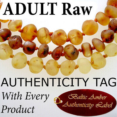 RAW BALTIC AMBER ADULT NECKLACE natural health beads AGbA® Certified