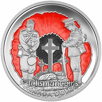 Canada 2015 World War I In Flanders Fields 100th WWI Enamel Poppy $1 Silver Prf