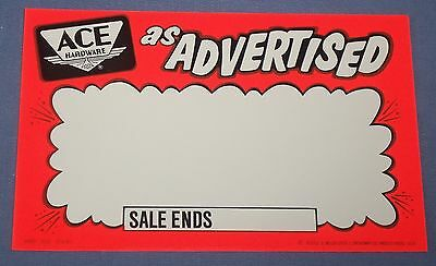 Vtg Ace Hardware Store Advertisement Sales Price Tag Sign Old Airplane Logo