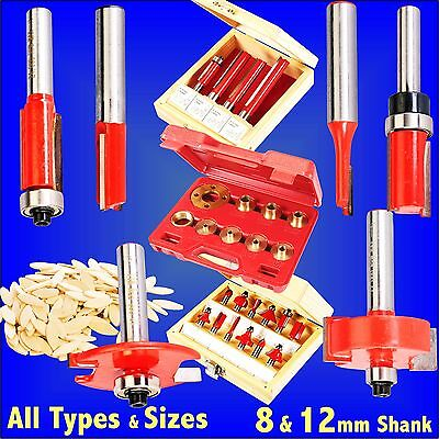 8mm 12mm Router Cutter Bit straight template flush rebate biscuit metric kitchen