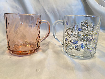 Pink Glass Swirl Arcoroc France Rosaline And Clear w/Flowers Luminarc Tea Cups