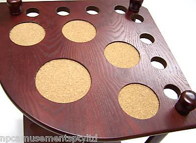 QUALITY WOODEN Mahogany Pool Snooker Corner Cue Stand with Drink Ball Holder