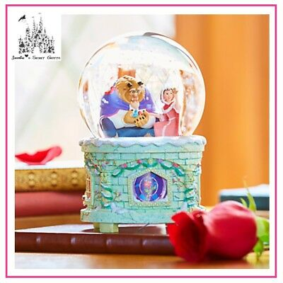 Authentic Disney Beauty And The Beast Light Up Musical Snowglobe Bnib