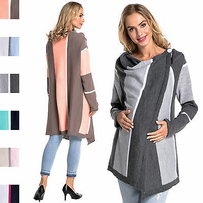 Happy Mama Women's Maternity Waterfall Knit Cardigan Colour Block Stripes 399p