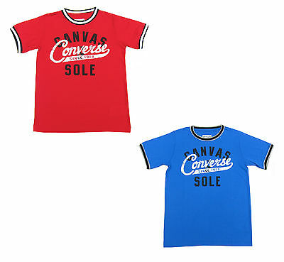 Boys Converse T-Shirt Canvas Sole All Star Blue or Red Ages 8-10, 10-12, 12-13Y