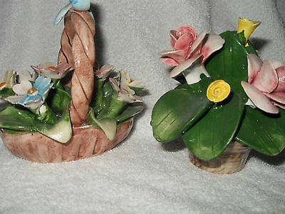 Pair Beautiful  Hand Painted  Porcelain Capodimontes - Flowers In Baskets