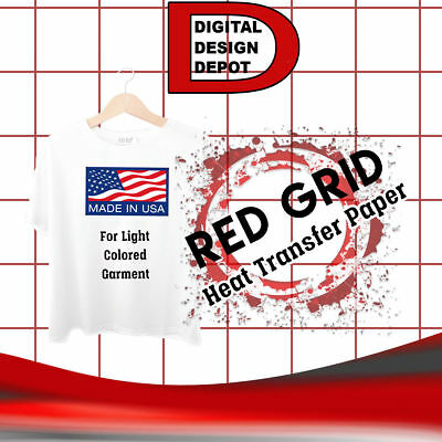"HEAT TRANSFER PAPER  IRON ON LIGHT T SHIRT INKJET RED GRID 50 PK 8.5""x11"""