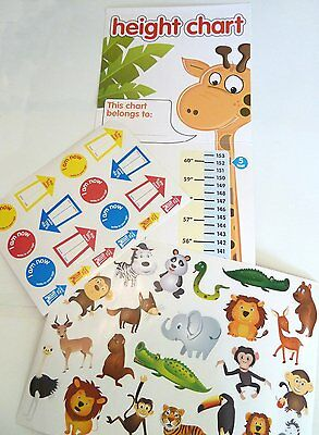 Children's HEIGHT CHART with Animal and Arrow 40 Wall Stickers Fun & Education