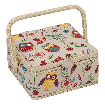 Hobby Gift MRS/29 Owl Print on Natural Small Sewing Box/Organiser 20 x 20 x 11cm