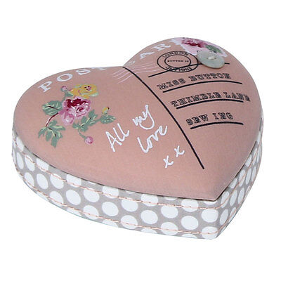 Button It 82363 All My Love Vintage Postcard Heart Pin Cushion 10 x 3½ x 9½cm
