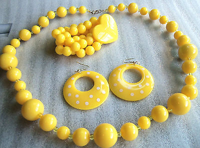 Qvc Matching Thermoset Lucite Yellow Bead Necklace Bracelet Hoop Earrings Unworn