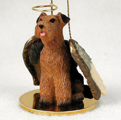 Airedale Terrier Dog Figurine Angel Statue Hand Painted