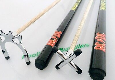 NEW Chrome ACDC Acca Dacca POOL SNOOKER BILLIARD CUE REST & SPIDER SET Christmas