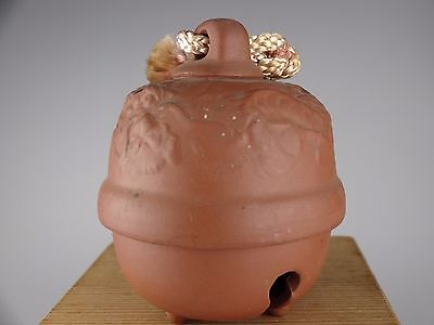 YD33 DOREI Pottery Bell Japanese Vintage Charm Amuleta Ceramic Clay