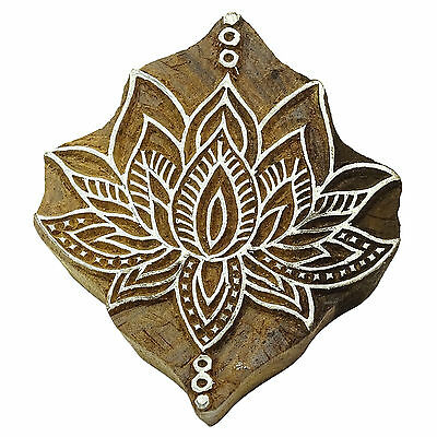 Wooden Textile Stamps Indian Lotus Decorative Border Painting Stamp PB2803A