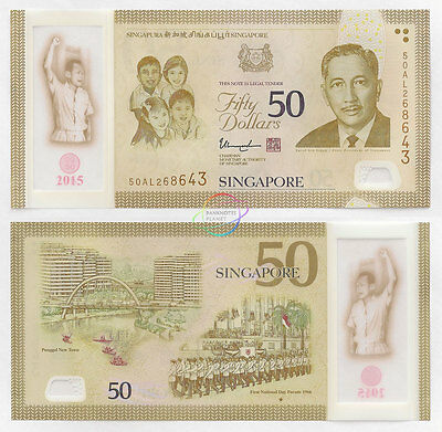 SINGAPORE 50 Dollars, 2015, SG50 Commemorative, Lee Kuan Yew, Polymer, UNC