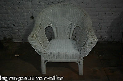 Ancien fauteuil en rotin blanc d'origine old rattan chair