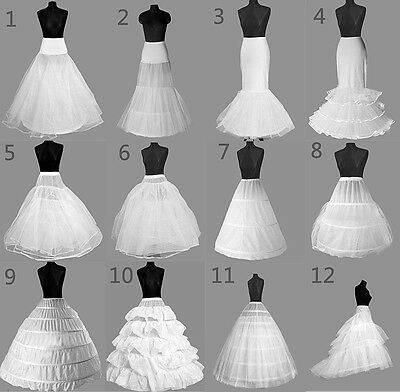12 Style White A-Line/Mermaid Wedding Crinoline Petticoat Underskirt Fancy Skirt