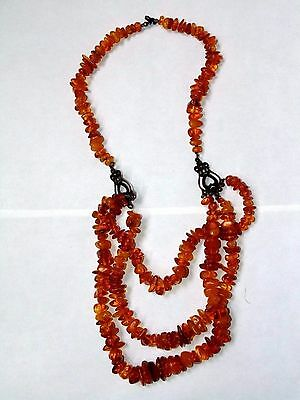 Antique 76g. Natural Butterscotch  BALTIC AMBER Beads Necklace 老琥珀