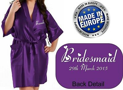 Personalised Wedding Bridal Robe Gown in PURPLE Satin Bride Mother / Gift Bag