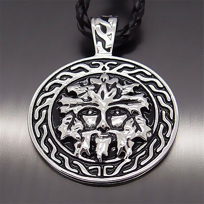"""Men's Boys Fashion Celtic GreenMan Silver Pewter Pendant with 20"""" Free Necklace"""