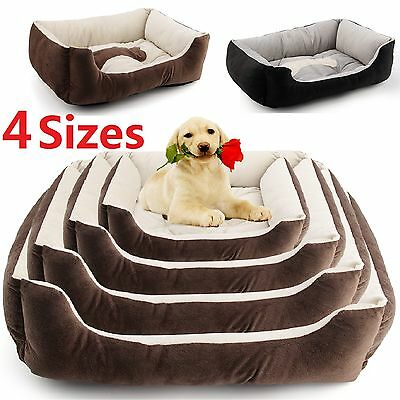 Large Luxury Washable Pet Dog Puppy Cat Bed Cushion Soft Mat Warm Basket Comfy L