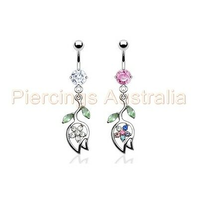 TULIP FLOWER GEM BELLY NAVEL RING CZ DANGLE BUTTON PIERCING JEWELRY B342