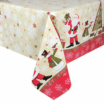Christmas Tablecloth Large 140 x 240cm PVC Wipe Clean Cream Santa Table Cloth