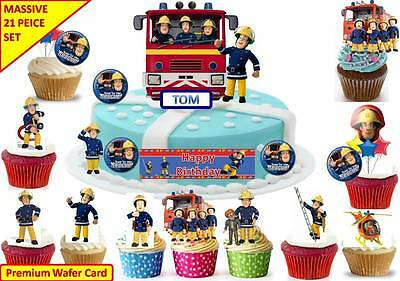 FIREMAN SAM Edible Birthday Party Scene Cup Cake Scene Toppers STAND UP CUSTOM