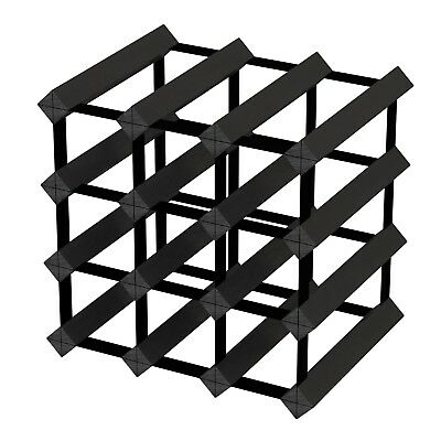 12 Bottle Timber Wine Rack - Black Onyx - Fully Assembled & Delivered
