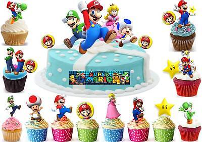SUPER MARIO Edible Birthday Party Scene Cup Cake Scene Toppers STAND UP CUSTOM