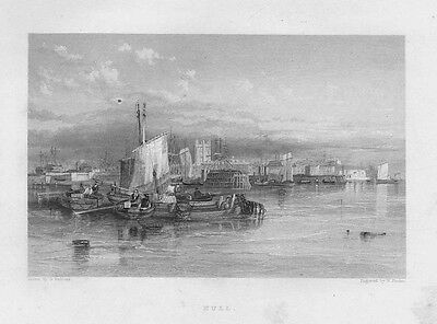 HULL View of the Port - Antique Print 1842