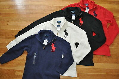 NWT RALPH LAUREN POLO BOY's BIG PONY SWEATER COTTON PULLOVER NAVY SPORT 4 or 5